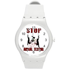 Stop Animal Testing   Rabbits  Round Plastic Sport Watch (m) by Valentinaart