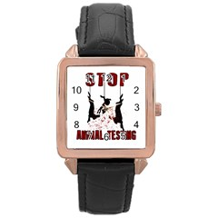 Stop Animal Testing   Rabbits  Rose Gold Leather Watch  by Valentinaart