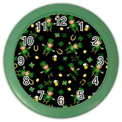 St Patricks Day Pattern Color Wall Clocks by Valentinaart