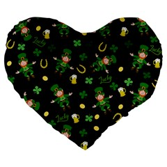 St Patricks Day Pattern Large 19  Premium Flano Heart Shape Cushions by Valentinaart
