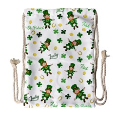 St Patricks Day Pattern Drawstring Bag (large) by Valentinaart