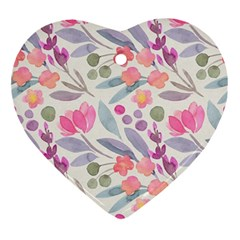 Purple And Pink Cute Floral Pattern Ornament (heart) by paulaoliveiradesign