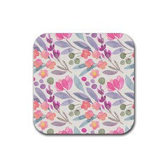 Purple And Pink Cute Floral Pattern Rubber Square Coaster (4 Pack)  by paulaoliveiradesign