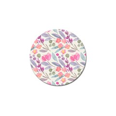 Purple And Pink Cute Floral Pattern Golf Ball Marker (10 Pack) by paulaoliveiradesign