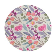 Purple And Pink Cute Floral Pattern Round Ornament (two Sides)