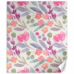 Purple And Pink Cute Floral Pattern Canvas 8  X 10  by paulaoliveiradesign