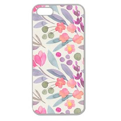 Purple And Pink Cute Floral Pattern Apple Seamless Iphone 5 Case (clear) by paulaoliveiradesign