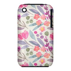 Purple And Pink Cute Floral Pattern Iphone 3s/3gs by paulaoliveiradesign