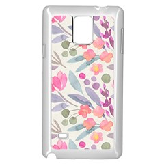 Purple And Pink Cute Floral Pattern Samsung Galaxy Note 4 Case (white) by paulaoliveiradesign