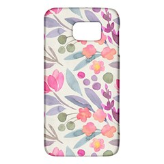 Purple And Pink Cute Floral Pattern Galaxy S6 by paulaoliveiradesign