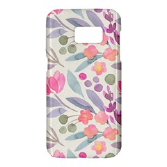 Purple And Pink Cute Floral Pattern Samsung Galaxy S7 Hardshell Case  by paulaoliveiradesign
