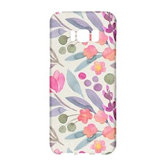 Purple And Pink Cute Floral Pattern Samsung Galaxy S8 Hardshell Case  by paulaoliveiradesign