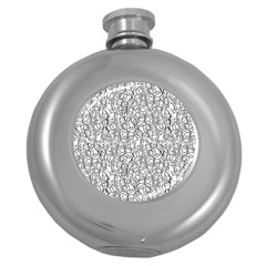 Elio s Shirt Faces In Black Outlines On White Round Hip Flask (5 Oz) by PodArtist