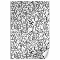 Elio s Shirt Faces In Black Outlines On White Canvas 24  X 36  by PodArtist