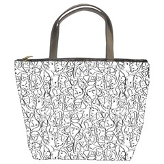 Elio s Shirt Faces In Black Outlines On White Bucket Bags by PodArtist