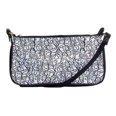 Elio s Shirt Faces In Black Outlines On White Shoulder Clutch Bags by PodArtist