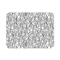 Elio s Shirt Faces In Black Outlines On White Double Sided Flano Blanket (mini)  by PodArtist