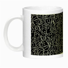 Elio s Shirt Faces In White Outlines On Black Crying Scene Night Luminous Mugs by PodArtist