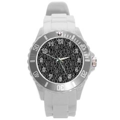 Elio s Shirt Faces In White Outlines On Black Crying Scene Round Plastic Sport Watch (l) by PodArtist