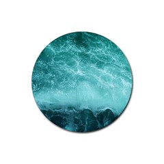 Green Ocean Splash Rubber Round Coaster (4 Pack)