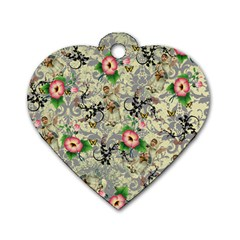 Angel Floral Dog Tag Heart (one Side) by snowwhitegirl