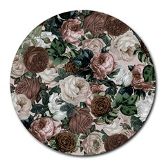 Rose Bushes Brown Round Mousepads by snowwhitegirl