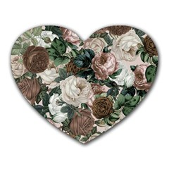 Rose Bushes Brown Heart Mousepads