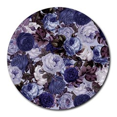 Rose Bushes Blue Round Mousepads by snowwhitegirl