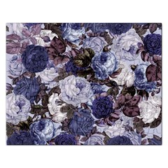 Rose Bushes Blue Rectangular Jigsaw Puzzl