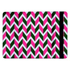 Chevron Pink Green Retro Samsung Galaxy Tab Pro 12 2  Flip Case by snowwhitegirl