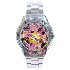 Red Retro Pop Stainless Steel Analogue Watch by snowwhitegirl