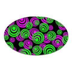 Neon Green And Pink Circles Oval Magnet by PodArtist