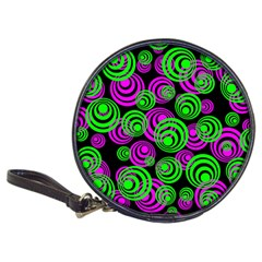 Neon Green And Pink Circles Classic 20 Cd Wallets by PodArtist
