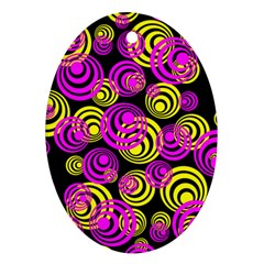Neon Yellow And Hot Pink Circles Ornament (oval) by PodArtist