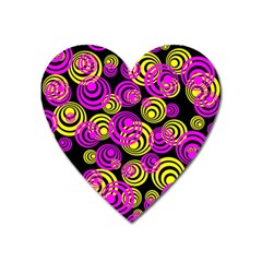 Neon Yellow And Hot Pink Circles Heart Magnet by PodArtist