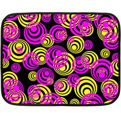 Neon Yellow And Hot Pink Circles Double Sided Fleece Blanket (mini)  by PodArtist