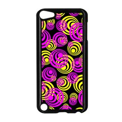 Neon Yellow And Hot Pink Circles Apple Ipod Touch 5 Case (black) by PodArtist