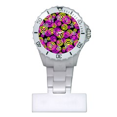 Neon Yellow And Hot Pink Circles Plastic Nurses Watch by PodArtist