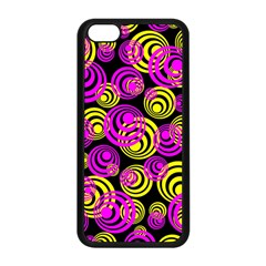 Neon Yellow And Hot Pink Circles Apple Iphone 5c Seamless Case (black) by PodArtist