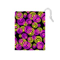 Neon Yellow And Hot Pink Circles Drawstring Pouches (medium)  by PodArtist