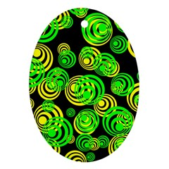 Neon Yellow And Green Circles On Black Ornament (oval) by PodArtist