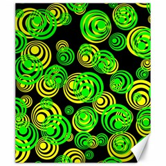 Neon Yellow And Green Circles On Black Canvas 20  X 24   by PodArtist