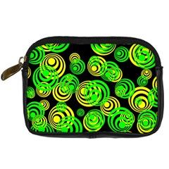 Neon Yellow And Green Circles On Black Digital Camera Cases by PodArtist