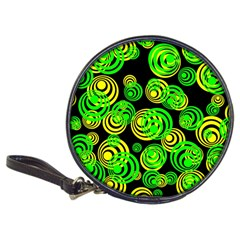 Neon Yellow And Green Circles On Black Classic 20 Cd Wallets by PodArtist
