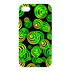 Neon Yellow And Green Circles On Black Apple Iphone 4/4s Hardshell Case by PodArtist