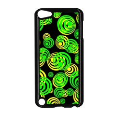 Neon Yellow And Green Circles On Black Apple Ipod Touch 5 Case (black) by PodArtist