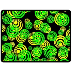 Neon Yellow And Green Circles On Black Double Sided Fleece Blanket (large)  by PodArtist