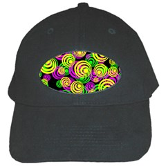 Bright Yellow Pink And Green Neon Circles Black Cap by PodArtist
