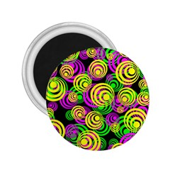 Bright Yellow Pink And Green Neon Circles 2 25  Magnets by PodArtist