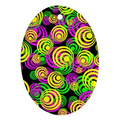 Bright Yellow Pink And Green Neon Circles Oval Ornament (two Sides) by PodArtist